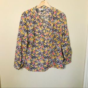 OLD NAVY Split Neck Popover Pullover Floral